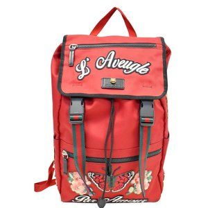 Gucci Techno Embroidered 45098 Red Canvas Backpack